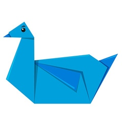 Blue bird origami on white background vector image
