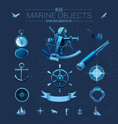 Blue marine objects vector