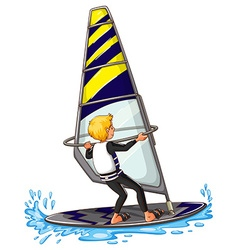 Man athlete sailing on surfboard vector