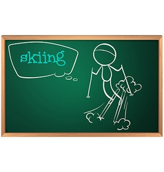 A board with a sketch of a person skiing vector image vector image