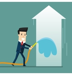 Businessman watering a growing arrow with good vector image