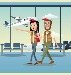 Couple traveler cap airport vector