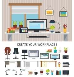 Create Interior Workplace Concept vector image