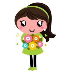 Cute Female with flowers isolated on white vector image vector image