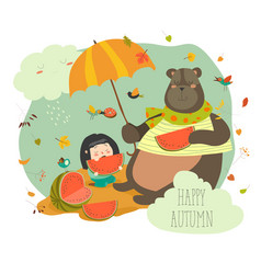 cute girl with bear eating watermelon vector image