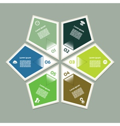 Cyclic diagram with six steps and icons eps 10 vector image vector image