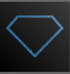 frame blue sequin diamond glitter sparkle vector image