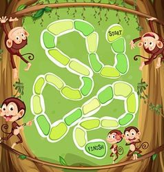 Game template with monkeys on the tree vector image vector image