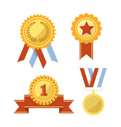 gold awards and medals with ribbons vector image vector image