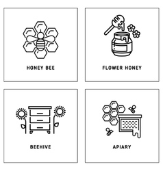 Honey bees honeycomb logos template set vector image vector image