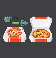 hot fresh pizza icon vector image vector image