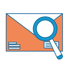 mail envelope with magnifying glass vector image