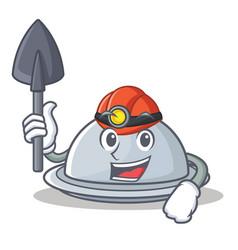 Miner tray character cartoon style vector