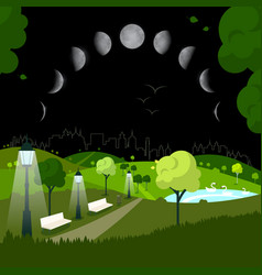 night city park with moon phases on sky vector image