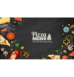 Pizza menu chalkboard background vector