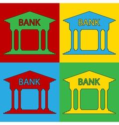 Pop art bank icons vector