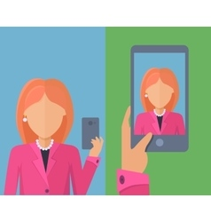 Selfy on smartphone young woman taking self vector