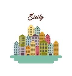 Sicily city icon Italy culture design vector image
