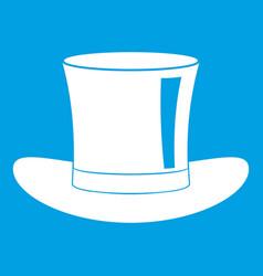 Silk hat icon white vector