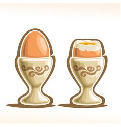 Soft boiled egg in holder vector