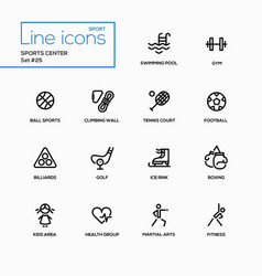 Sports center - modern single line icons vector