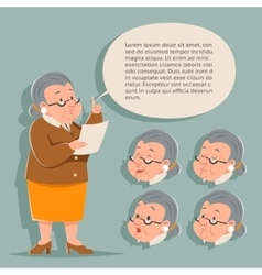 Teacher emotion old female granny character adult vector
