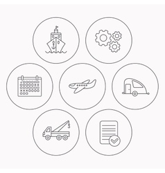 Transportation icons Cruise airplane signs vector image vector image