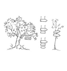 tree with sign hand drawn signs vector image