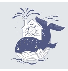 Whale and sea rotection preservation symbol vector image