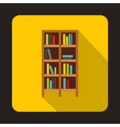 Bookcase icon in flat style vector