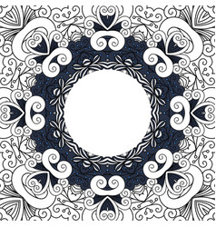 Decorative frame with line floral ornament vector