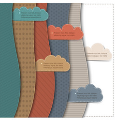 Textured paper banners with clouds vector image