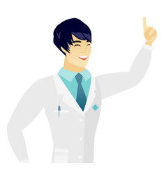 Young asian doctor pointing with his forefinger vector