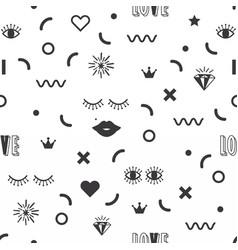 Black silhouette feminine fun symbol icons pattern vector