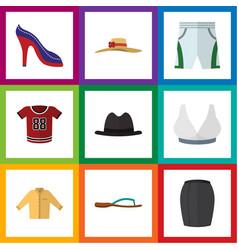 Flat icon dress set of stylish apparel elegant vector