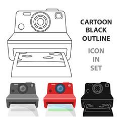Retro photocamera icon in cartoon style isolated vector