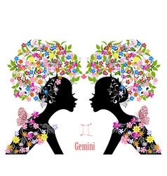 Zodiac sign gemini fashion girl vector