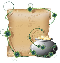 Pot with gold and the manuscript vector