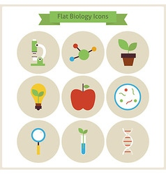 Flat school biology and science icons set vector