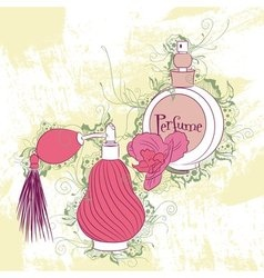 Decorative stylish perfume bottles vector