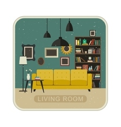 Living room grunge interior vector