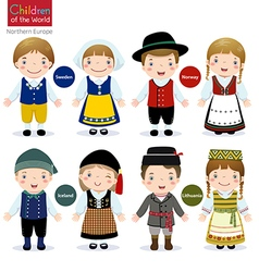 Children of the world sweden norway iceland vector