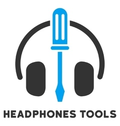 Headphones tools flat icon with caption vector