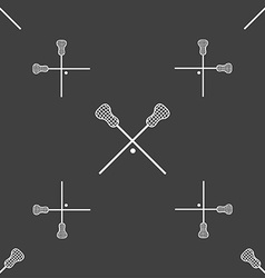 Lacrosse sticks crossed icon sign seamless pattern vector