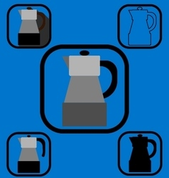 Geyser coffee maker icons set vector