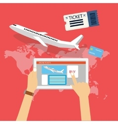 Book buy plane flight ticket online via internet vector
