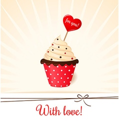 Vintage valentines card with heart on cream cake vector