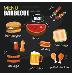 barbecue menu party BBQ invitation template menu vector image