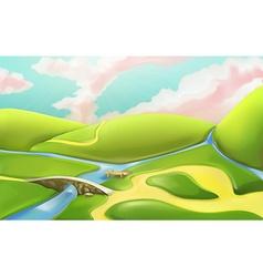 3d cartoon nature landscape with bridge with vector