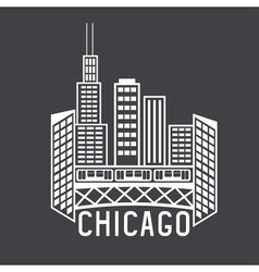 Chicago illinois usa skyline design template vector